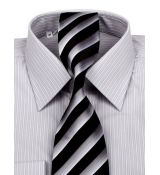 20016c38afde Šedo-biela obleková košeľa KLEMON KLASIK 200-150